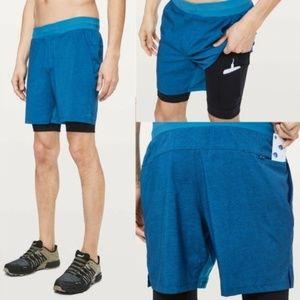 Lululemon T.H.E. Short 7″ Nulux Liner Blue Shorts